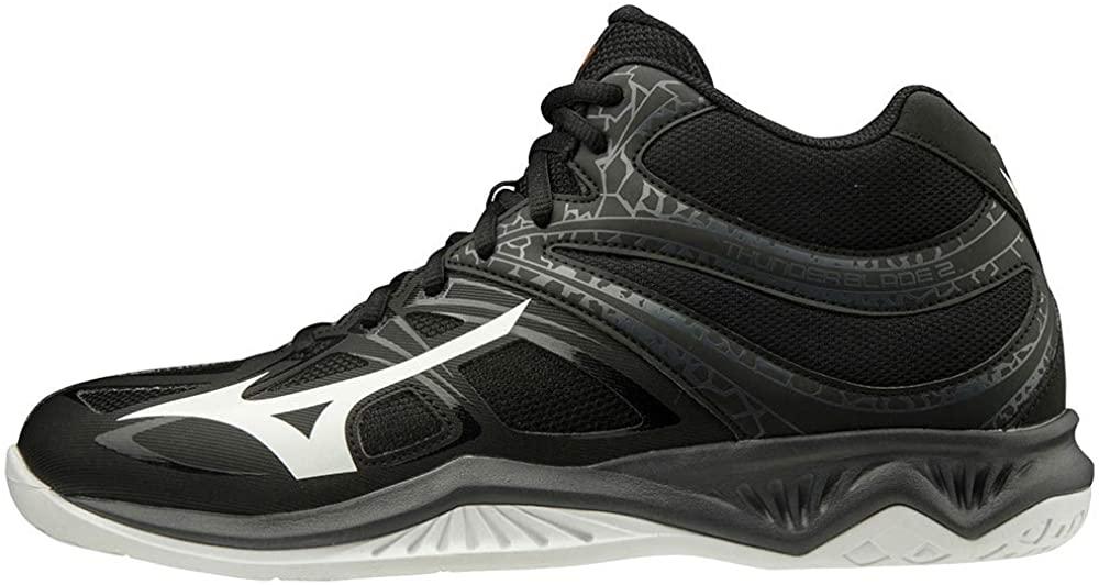Mizuno Women's Mid Volleyball Shoe, Black White Ebony, 8 us