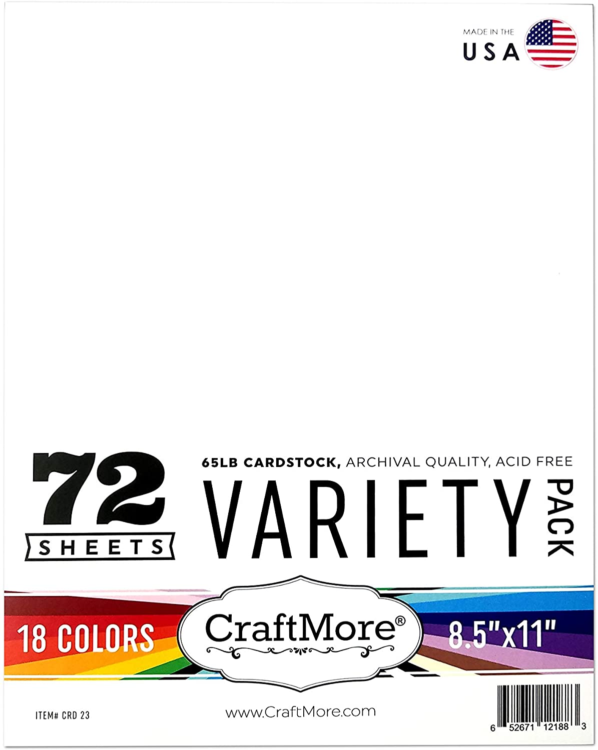 CraftMore Card Stock Variety Essential Pack, 8.5 by 11 Inches, 72 Sheets