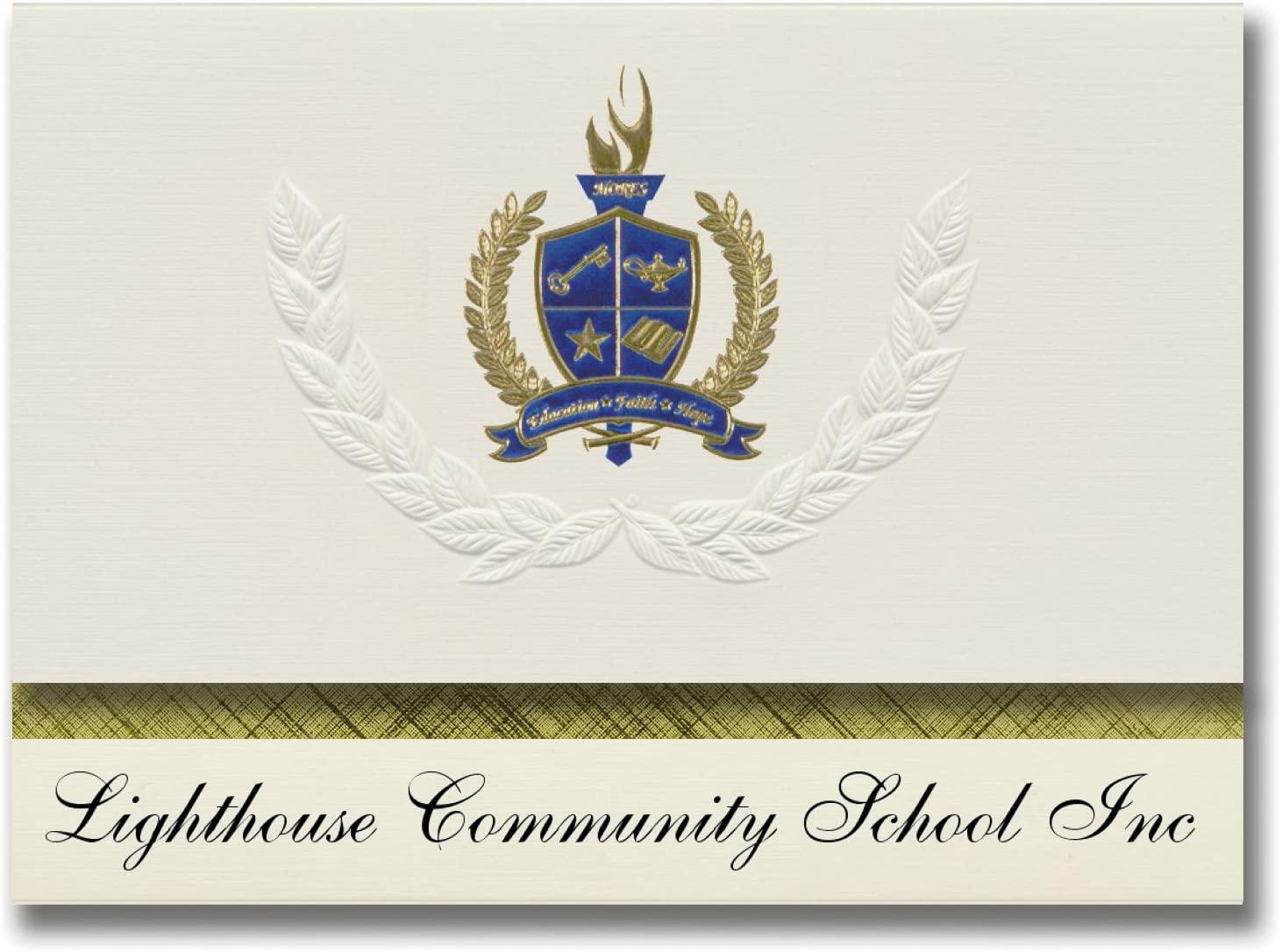 Signature Announcements Lighthouse Community School Inc (Cincinnati, OH) Graduation Announcements, Presidential Elite Pack 25 with Gold & Blue Metallic Foil seal