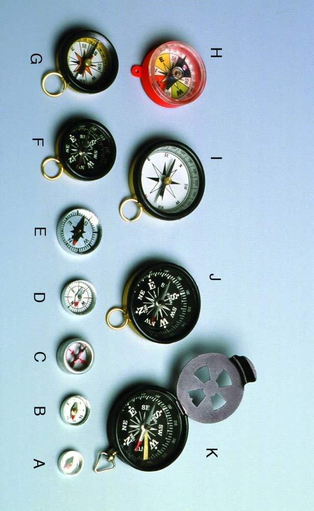 United Scientific Supplies CWR025 Aluminum Case Compass, Glass Top with Ring, 25 mm Diameter, Aluminum/Glass