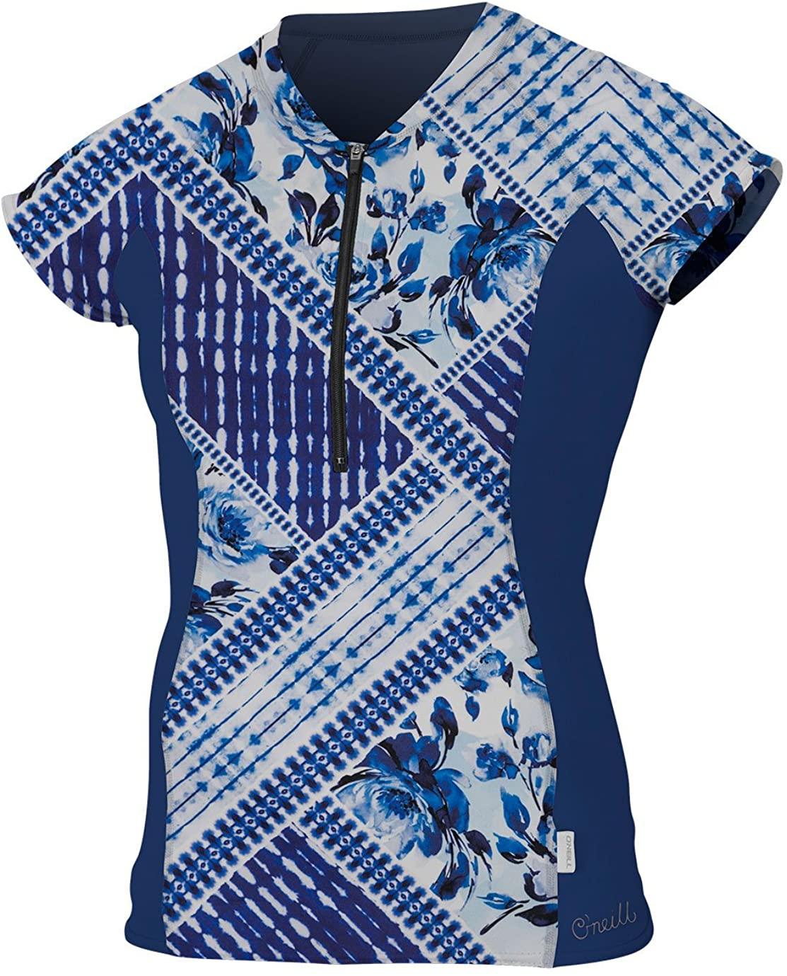O'NEILL Cap Sleeve Sun Shirt Front Zip Indigo Patch/Navy MD (US 5-7)