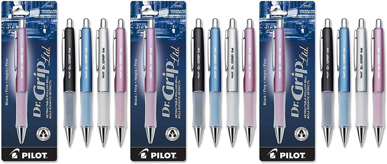 PILOT Dr. Grip Limited Refillable & Retractable Gel Ink Rolling Ball Pen, Fine Point, Assorted Barrel, Black Ink, Single Pen (36274) - 3 Pack
