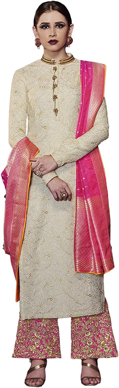 Indian Bollywood Designer Ethnic Silk Anarkali Salwar Kameez Un-Stitched A1162 Off-White