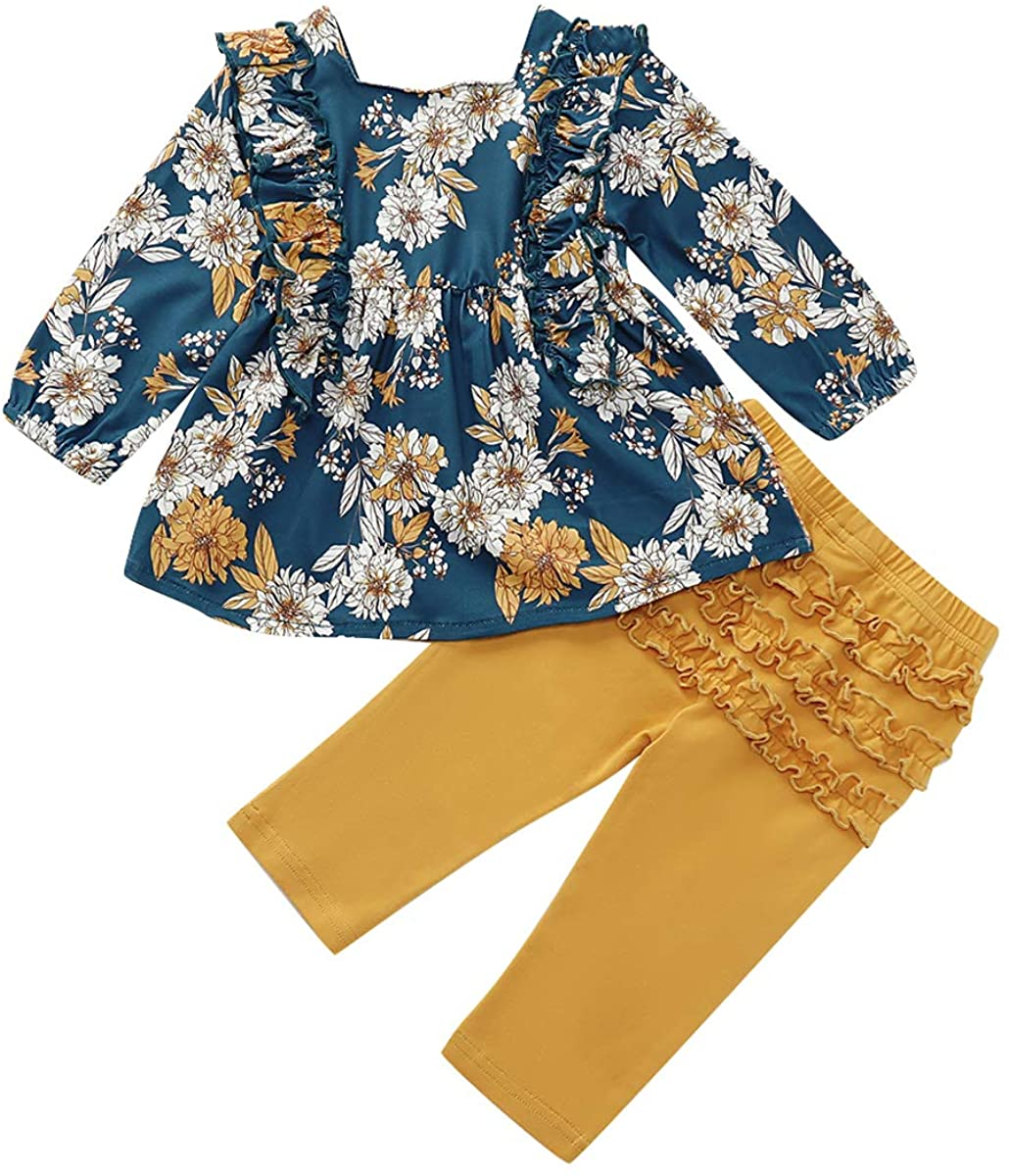 Infant Toddler Baby Outfit Little Kid Girl Long Sleeve Floral Ruffle Dress Shirt Top Lace Pants Clothes Set