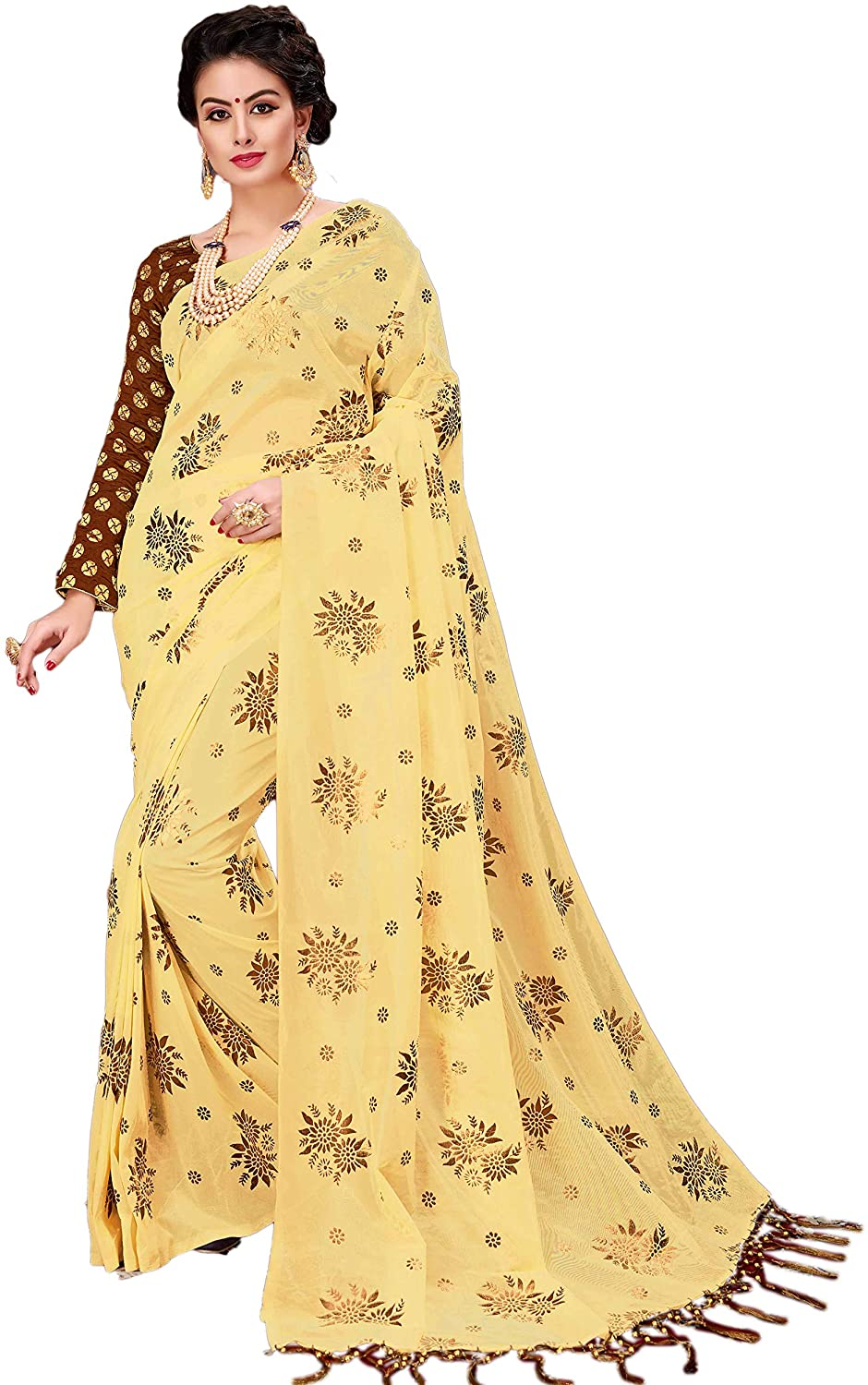 Indian Designer Ethnic Bollywood Traditional Fancy Net Saree Blouse S4724 Yellow