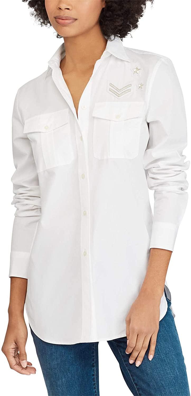 Lauren by Ralph Lauren Women's Bullion Patch Poplin Shirt White in Size Medium