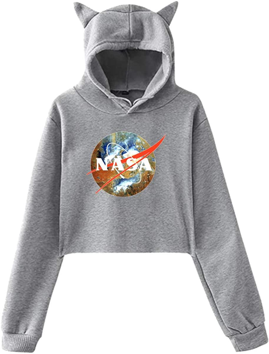 ZHUYOUDAO Womens NASA Sign Long Sleeve Crop Top Hoodie Gray Sweatshirt