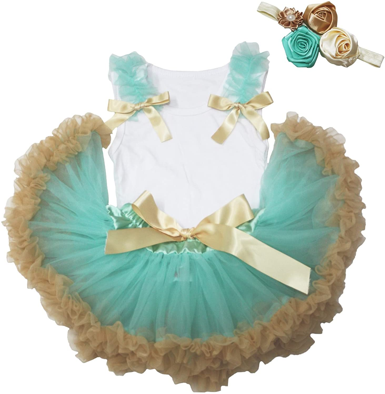 Shoulder and Bows White Cotton Shirt Aqua Blue Gold Baby Skirt Set 3-12m