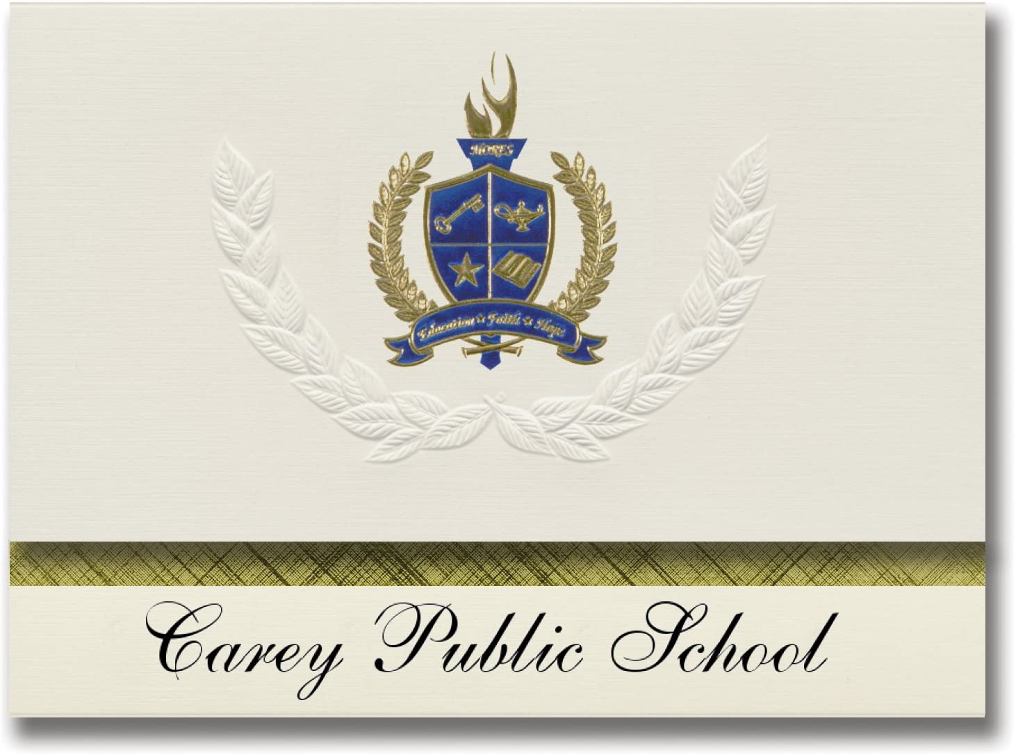 Signature Announcements Carey Public School (Carey, ID) Graduation Announcements, Presidential style, Elite package of 25 with Gold & Blue Metallic Foil seal