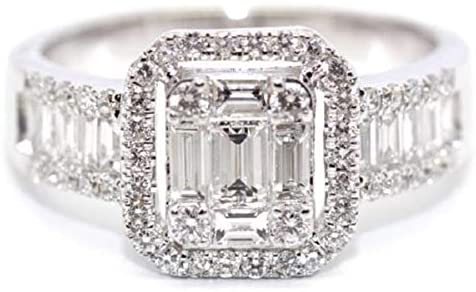 1.12CT DIAMOND 18KT WHITE GOLD ROUND & BAGUETTE INVISIBLE ENGAGEMENT RING