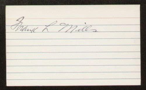 Frank Mills signed autograph 3x5 index card B2686