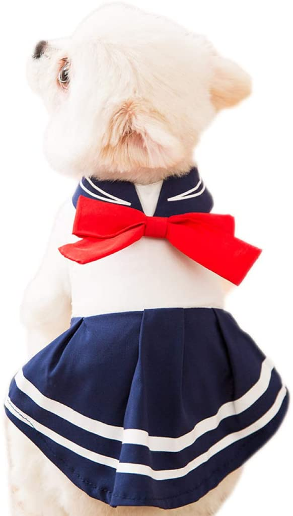 WANK Pet Costume Summer Cute Dog Dresses Girl Puppy Vest Dress Student Uniform Skirt with Red Bow-Knot for Cats Dogs