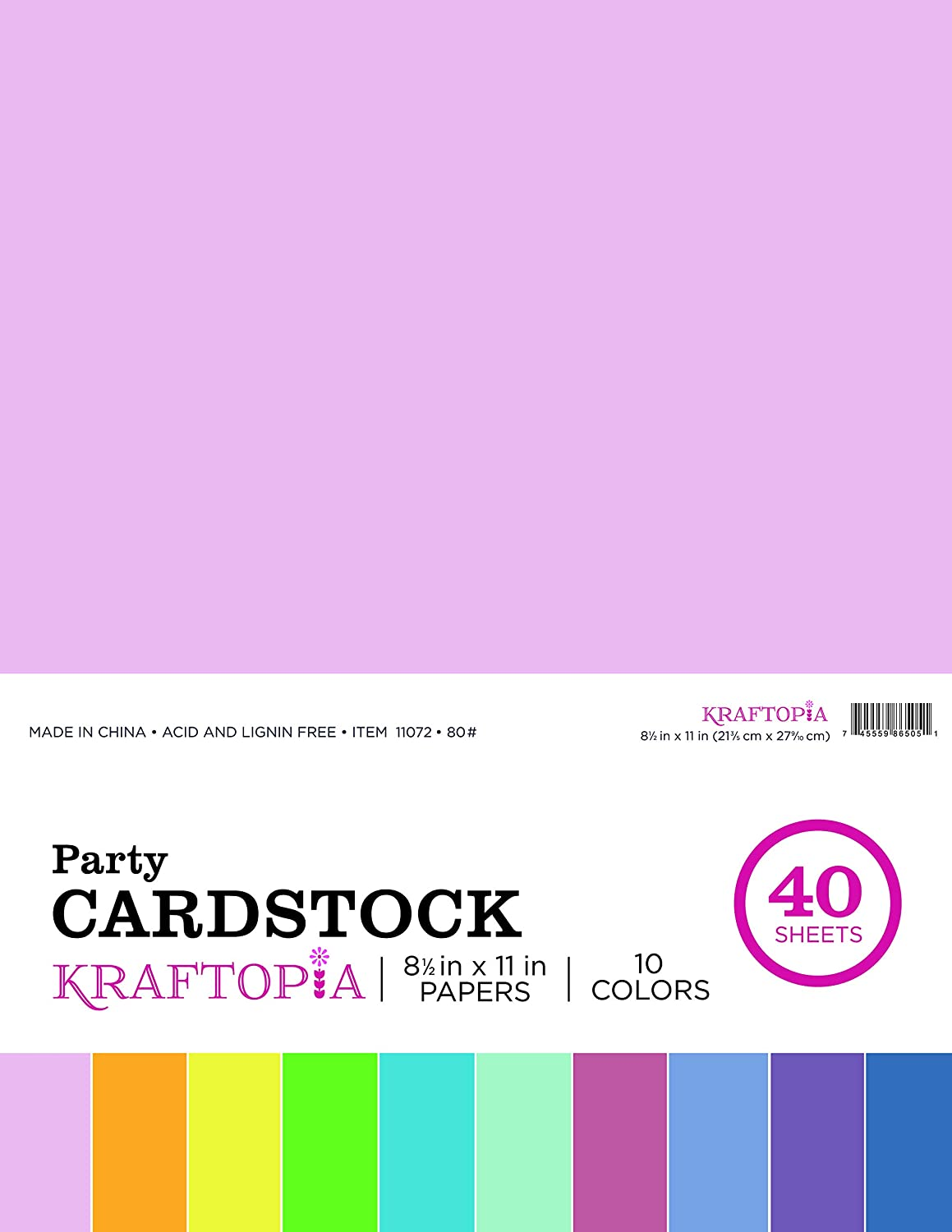 Kraftopia, Party, Colorful Cardstock, Value Pack, 8.5 x 11 Inches - 40 Sheets