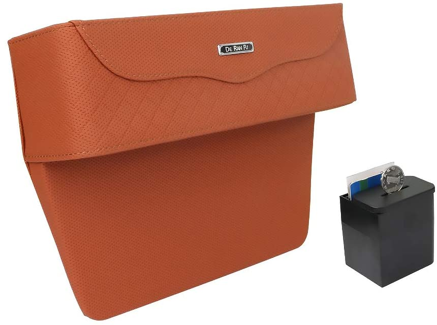 KKSY Storage Cup Holder for Cars Leather Change Box Water Cup Holder Multifunction Seats Seam with Coin Deposit Box