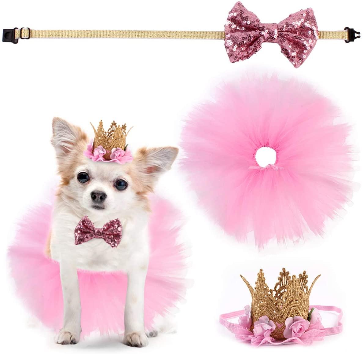 Ayunjia 3pcs/Set Dog Dress Puppy Birthday Party Supplies Tutu Skirt Bowtie Crown Hat Pet Dog Suit for Wedding Dress Valentines Day
