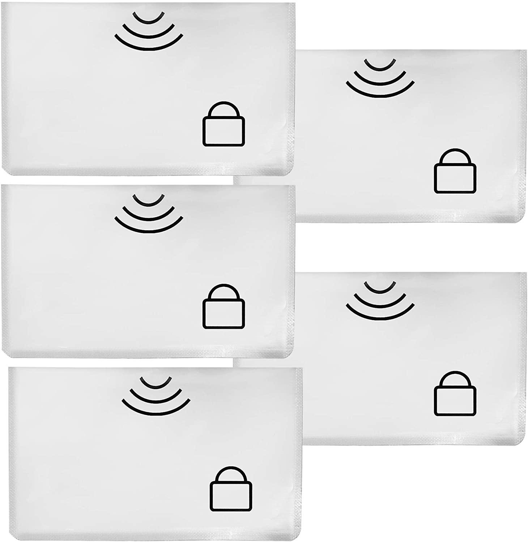 5 Pcs RFID Sleeves Credit Card Sleeve,Credit Card Protector Sleeves Blocks Credit Cards Transfer of Pickpocketing – (10.5 x 7 cm)