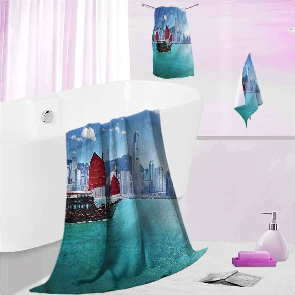 DayDayFun Custom Towels Ocean Odor Resistant, Highly Absorbent Hong Kong Harbour Boat S - Contain 1 Bath Towel 1 Hand Towel 1 Washcloth
