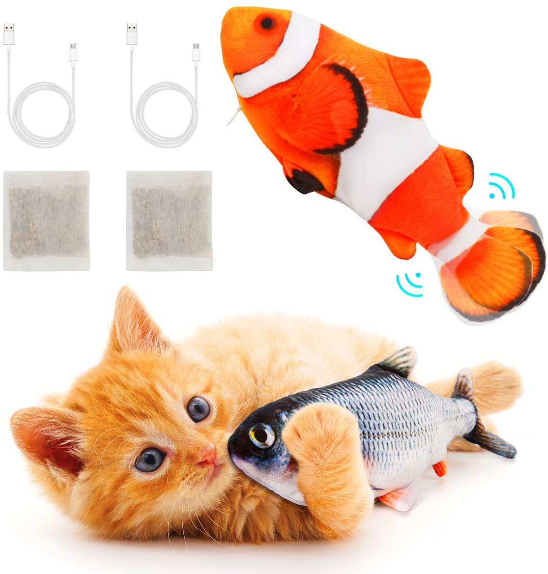 Interactive Cat Toys Floppy Moving Fish with Catnip Realistic Plush Electric Wagging Toy for Indoor Kitty Pet Grabbing, Biting, Chewing and Kicking 2 Pack (Clownfish + Carp)