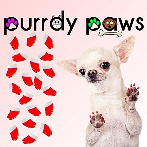 Purrdy Paws 100-Pack Soft Nail Caps for Dog Claws Santa's Cap