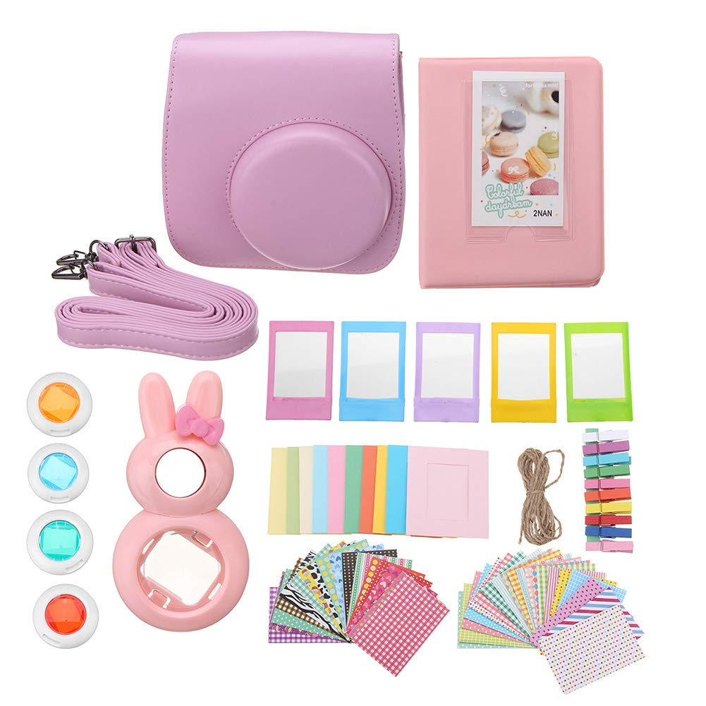 Misszhang-US 9 in 1 Camera Case Album Lens Accessories Set for Fujifilm Instax Mini 7/7S/8/9 Pink