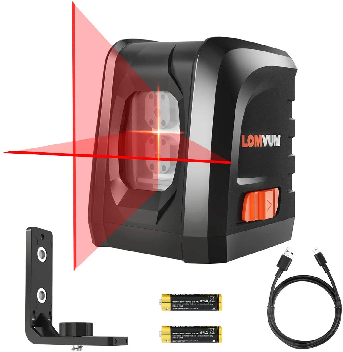 Lomvum Self-Leveling Laser Level 50FT Red Cross- Line Laser, DIY Line Laser with Free Batteries,Charging Cable, Bracket