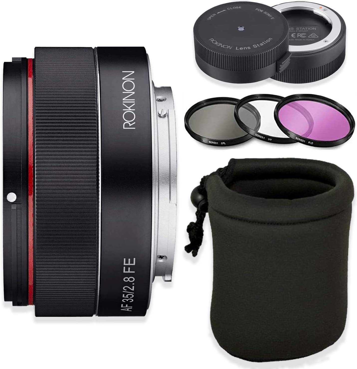 Rokinon AF 35mm f/2.8 FE Lens for Sony E-Mount Cameras with Sony Lens Station + HD Filters & Lens Case