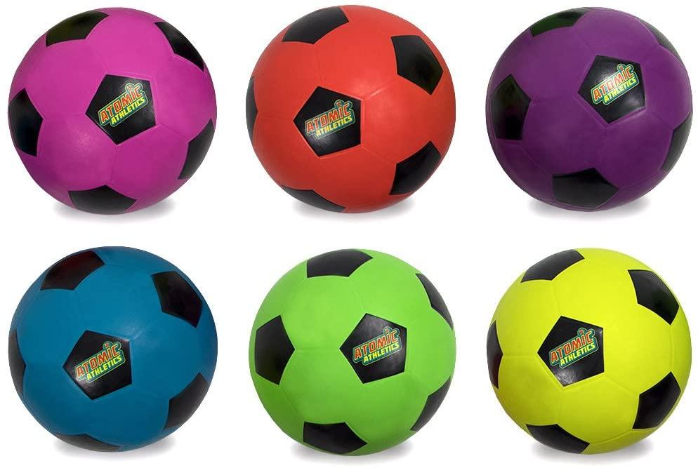 Set of 6 Different Color Regulation Size Neon Soccer Balls - Includes Bonus Mess Bag!