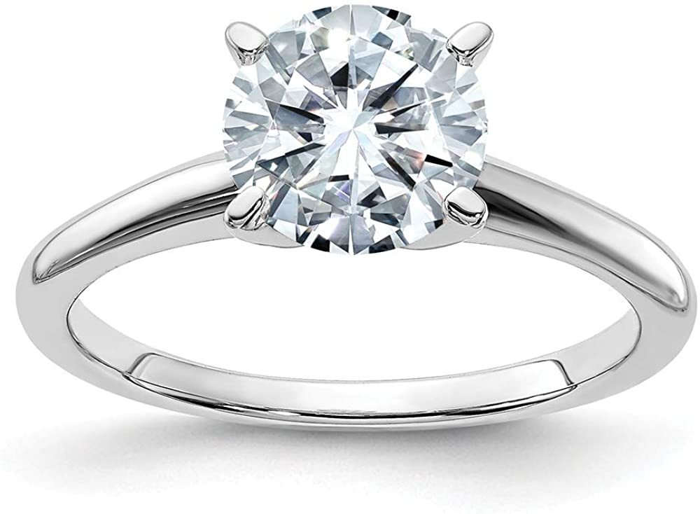 14k White Gold 8.5mm ROUND Colorless Moissanite Solitaire Engagement Ring Size 8 (2.2 cttw.)
