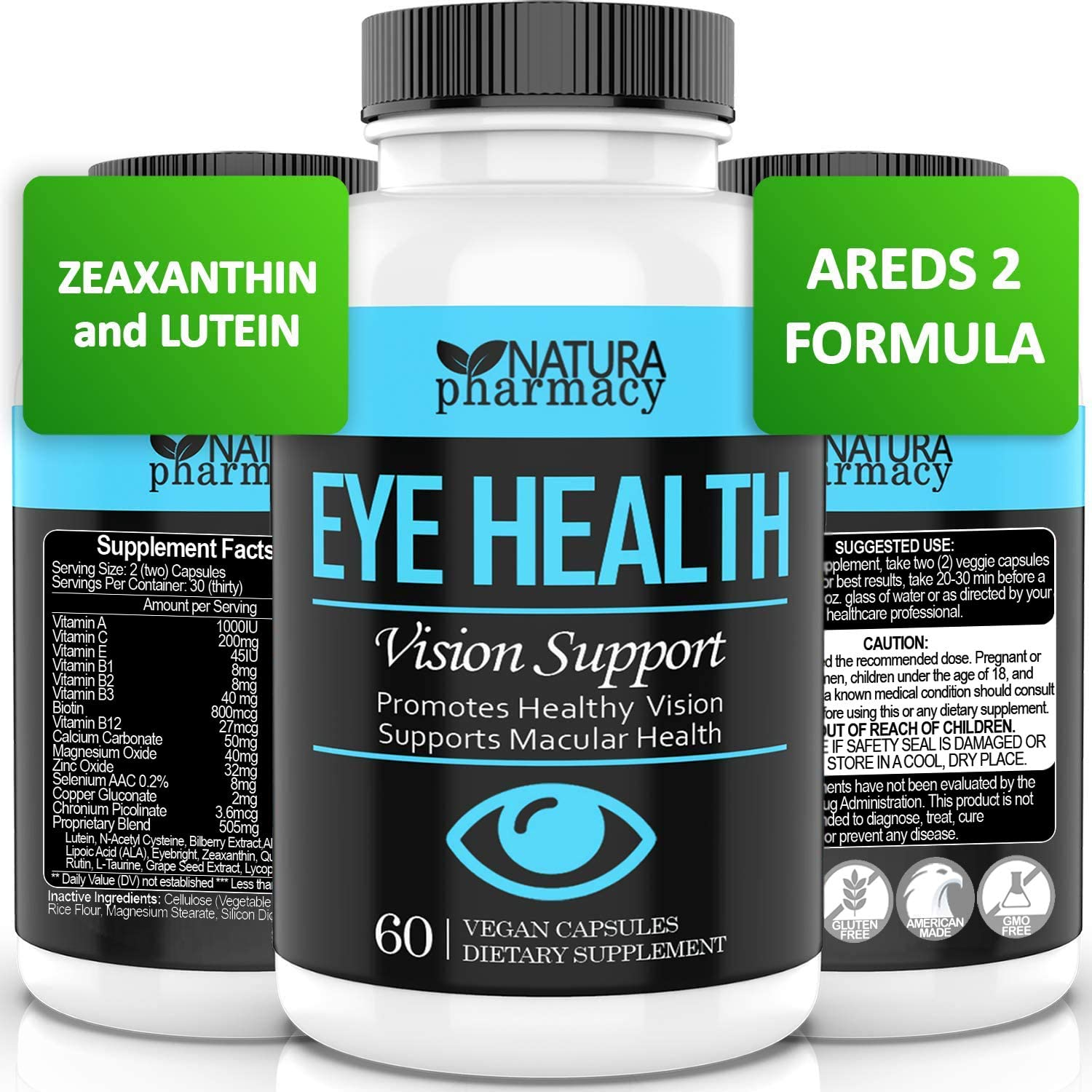 Vegan Eye Health Vitamins AREDS 2 Formula with Lutein, Zeaxanthin, Zinc and Vitamin C for Macular Degeneration, Strain, Dry Eyes and Vision Support (60)