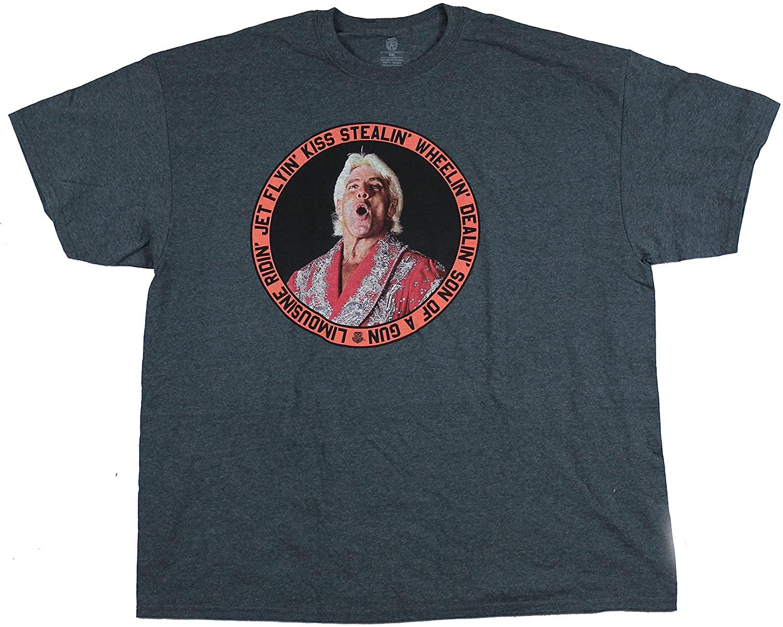 WWE Men's Ric Flair Jet Flyin' T-Shirt,Blue, 4XL