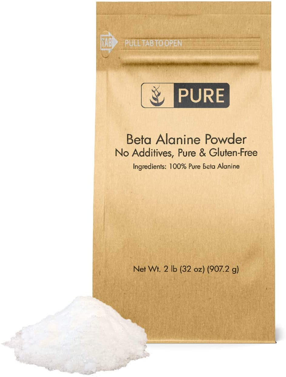 Beta Alanine Powder (2 lbs) by Pure Organic Ingredients, 100% Pure Non-Essential Amino Acid, Last Longer in High-Intensity Workouts*, Delay Muscle Fatigue*, Gluten-Free, Eco-Friendly Packaging