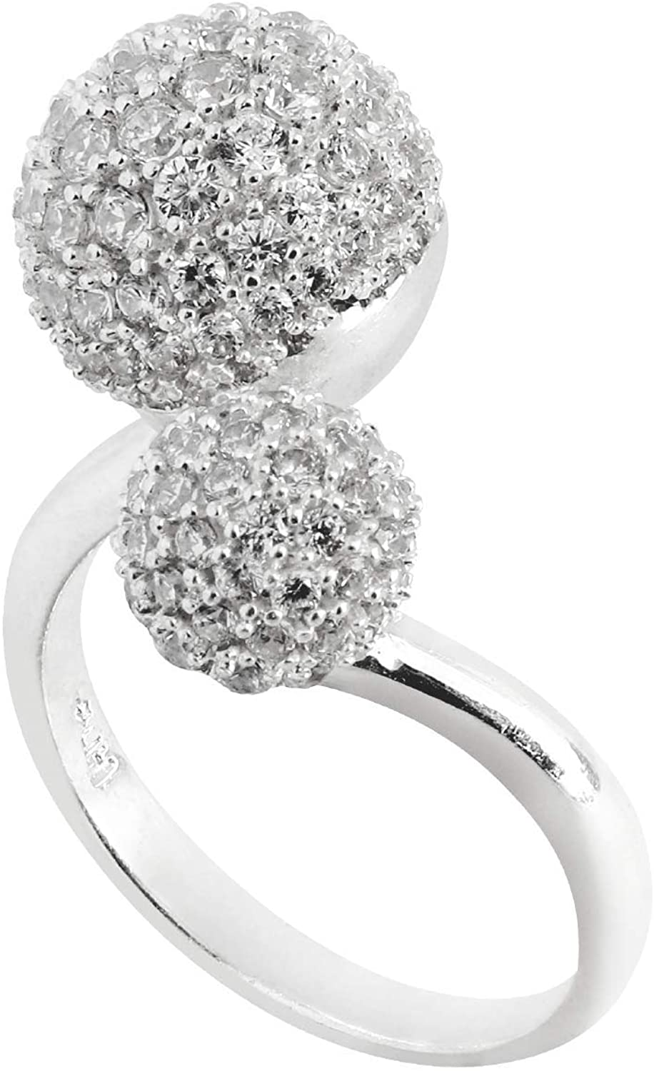 na 950 Silver Ring Two Jewels with Fashion Stones for Women