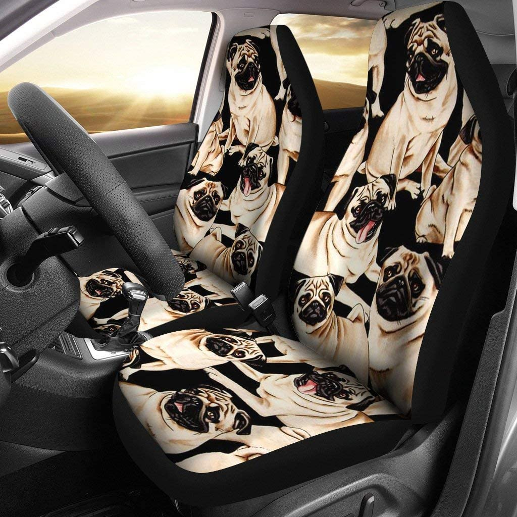 Great Breed Store Pug Dog Pattern Print Car Seat Covers