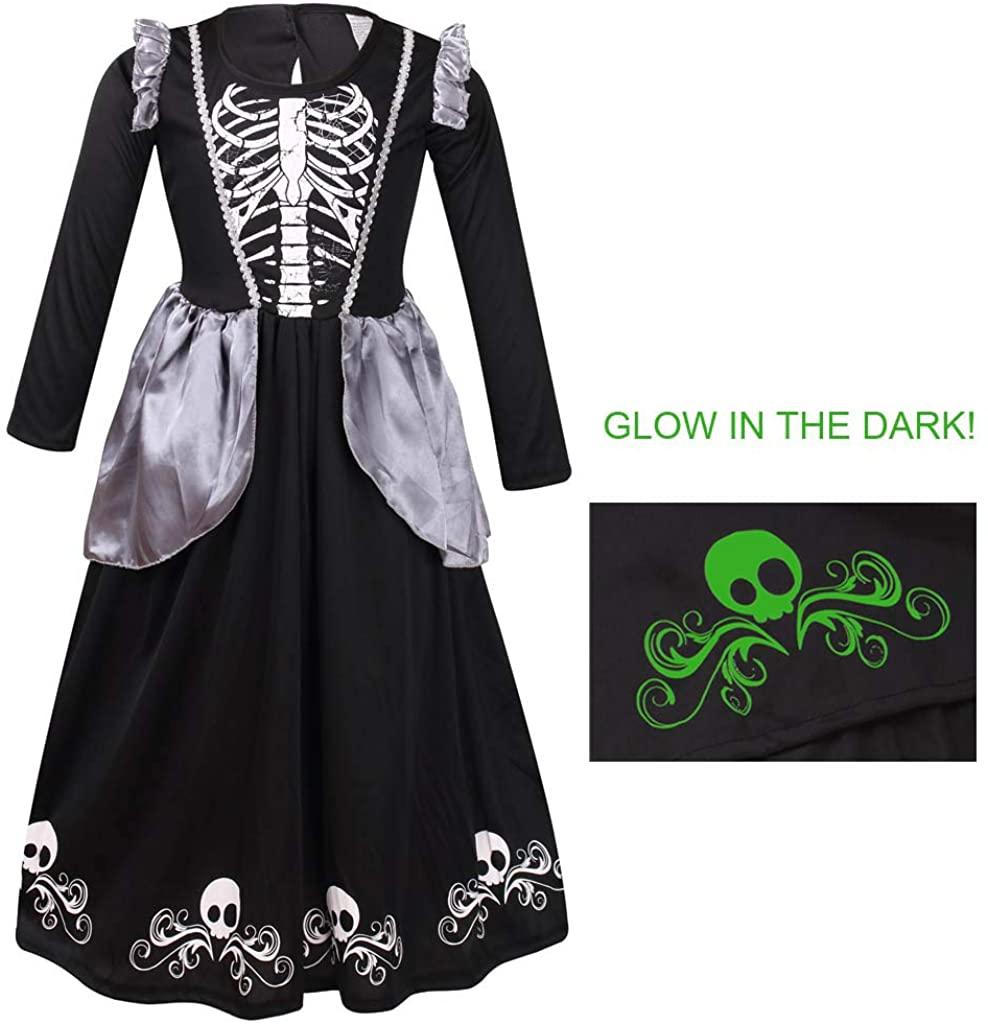 Meeyou Girls Skeleton Costume,Glow in Dark Halloween Bones Dress