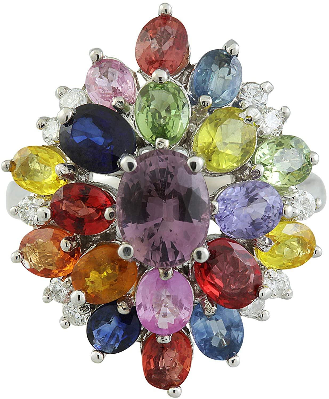 6.20 Carat Sapphire & VS1-VS2 Clarity F-G Color 0.40 Carat Diamond 14K White Gold Luxury Ring