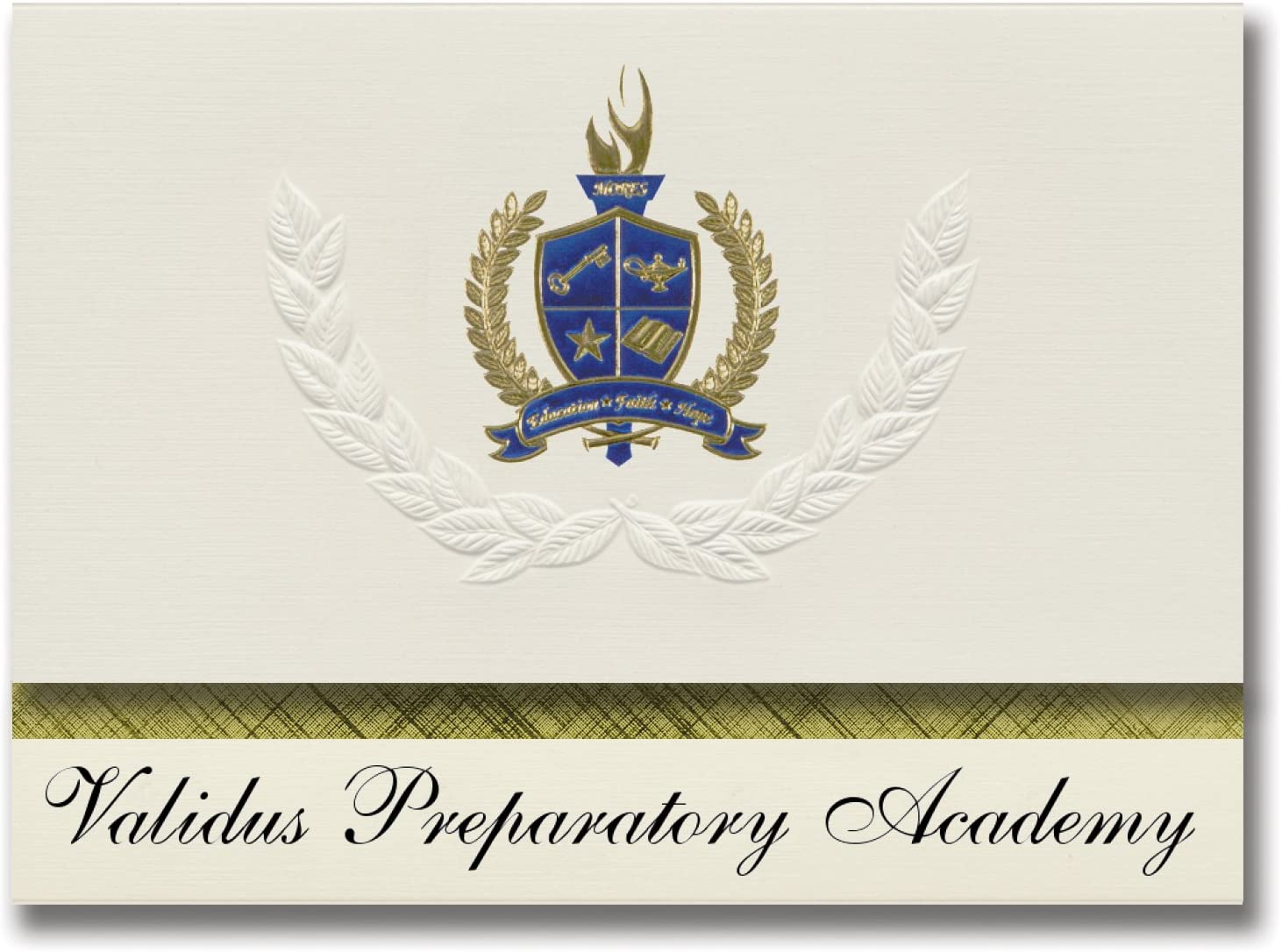 Signature Announcements Validus Preparatory Academy (Bronx, NY) Graduation Announcements, Presidential style, Basic package of 25 with Gold & Blue Metallic Foil seal