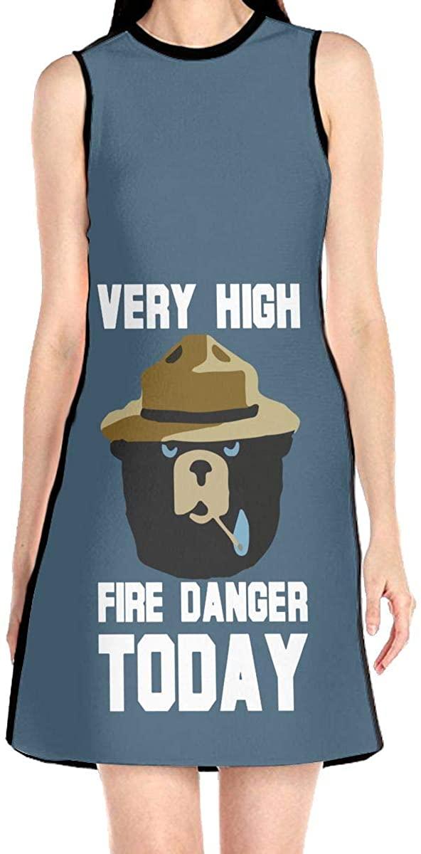 Very High Fire Danger Today Women's Sleeveless Dress Casual Slim A-Line Dress Tank Dresses