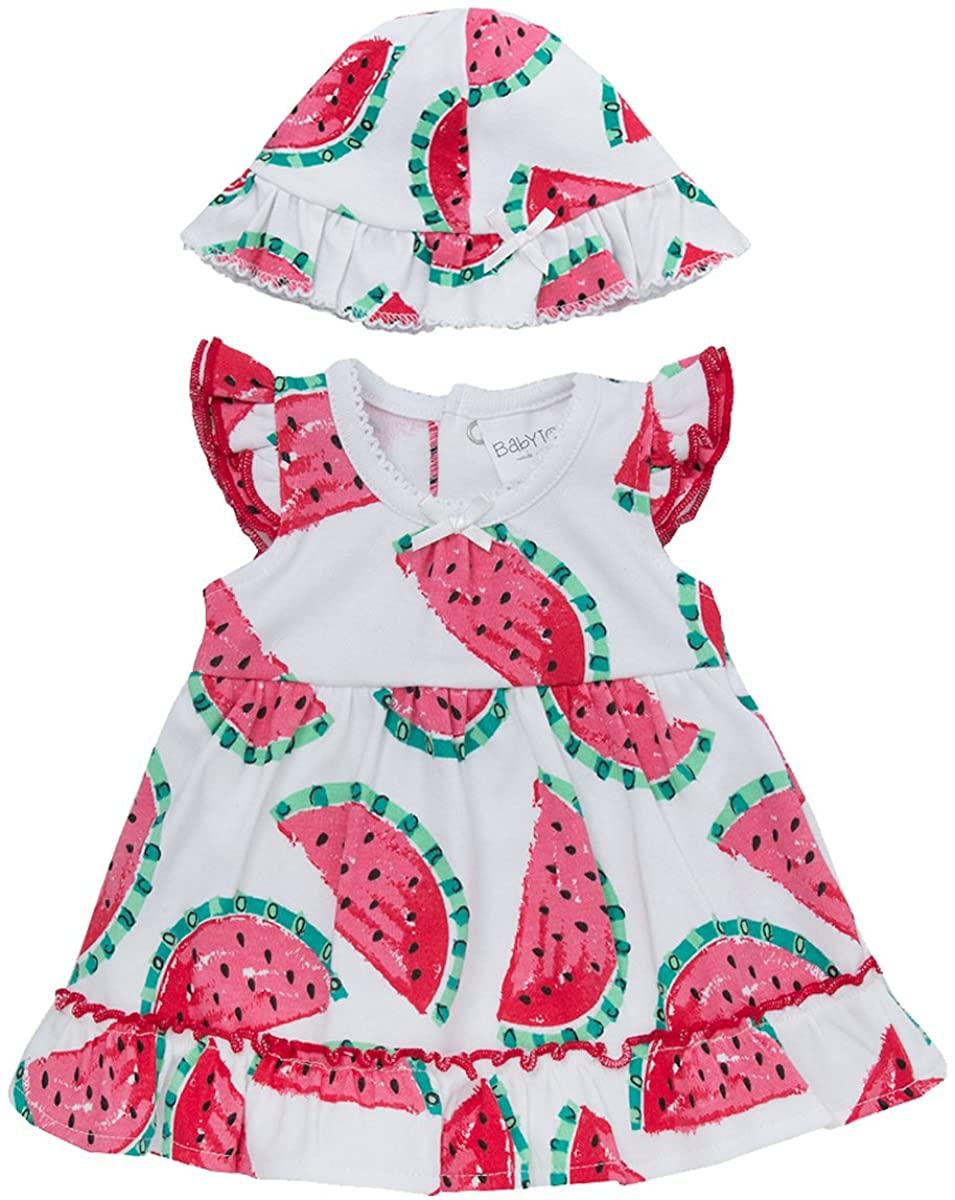 Babytown Newborn Baby Girls Dress and Hat Set Melon 1 Month