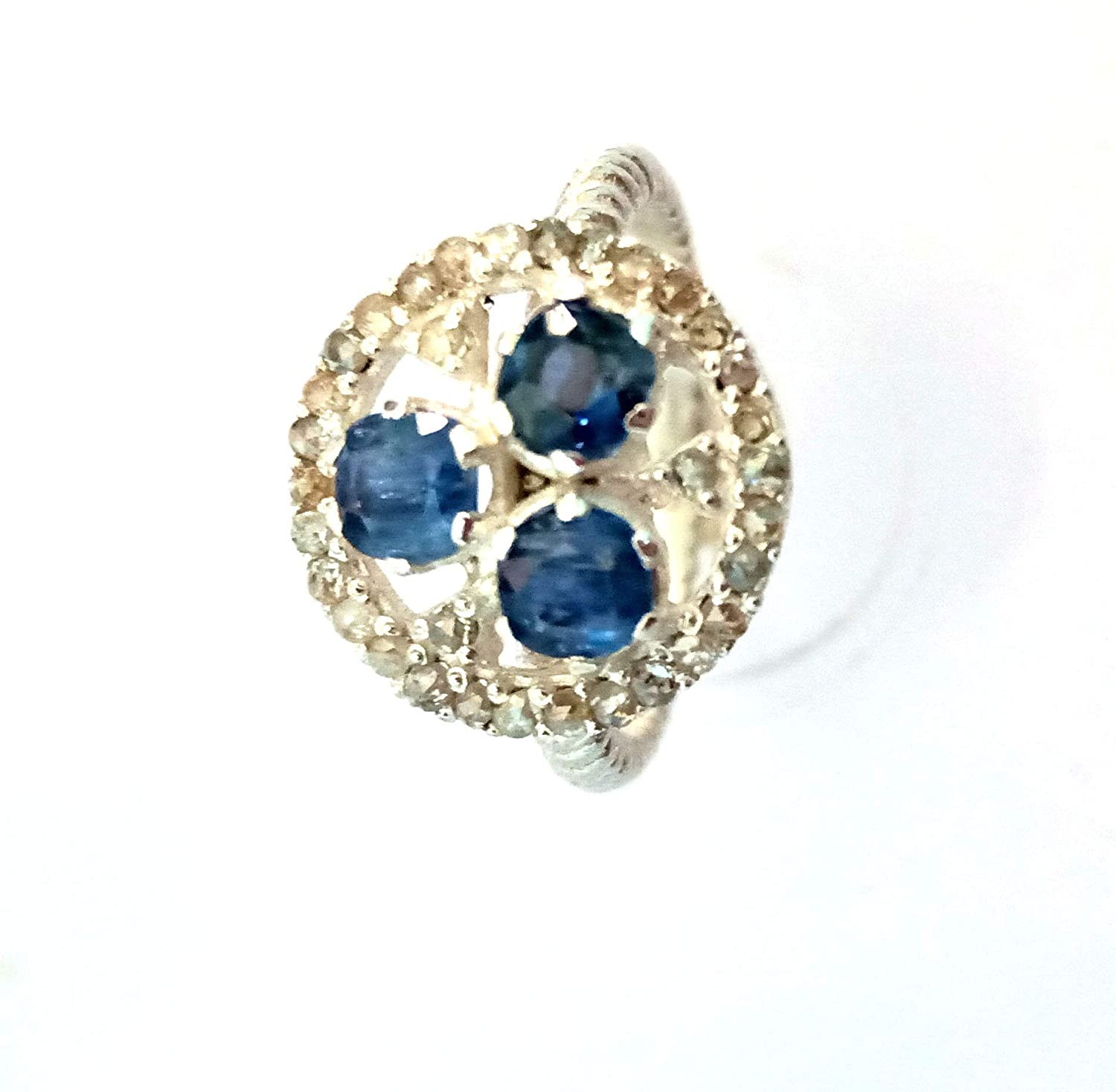 Rupa Gems Handmade Silver Finish Ring Solid 925 Sterling Silver Ring Blue Sapphire & Pave Diamond Ring