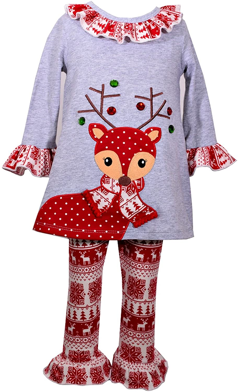 Bonnie Jean Girls Gray Heather Reindeer Knit Legging Set (4T)
