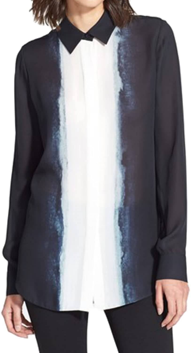 Vince Womens Button Down Shirt Dip Dye Silk Long Blouse Coastal Navy Blue