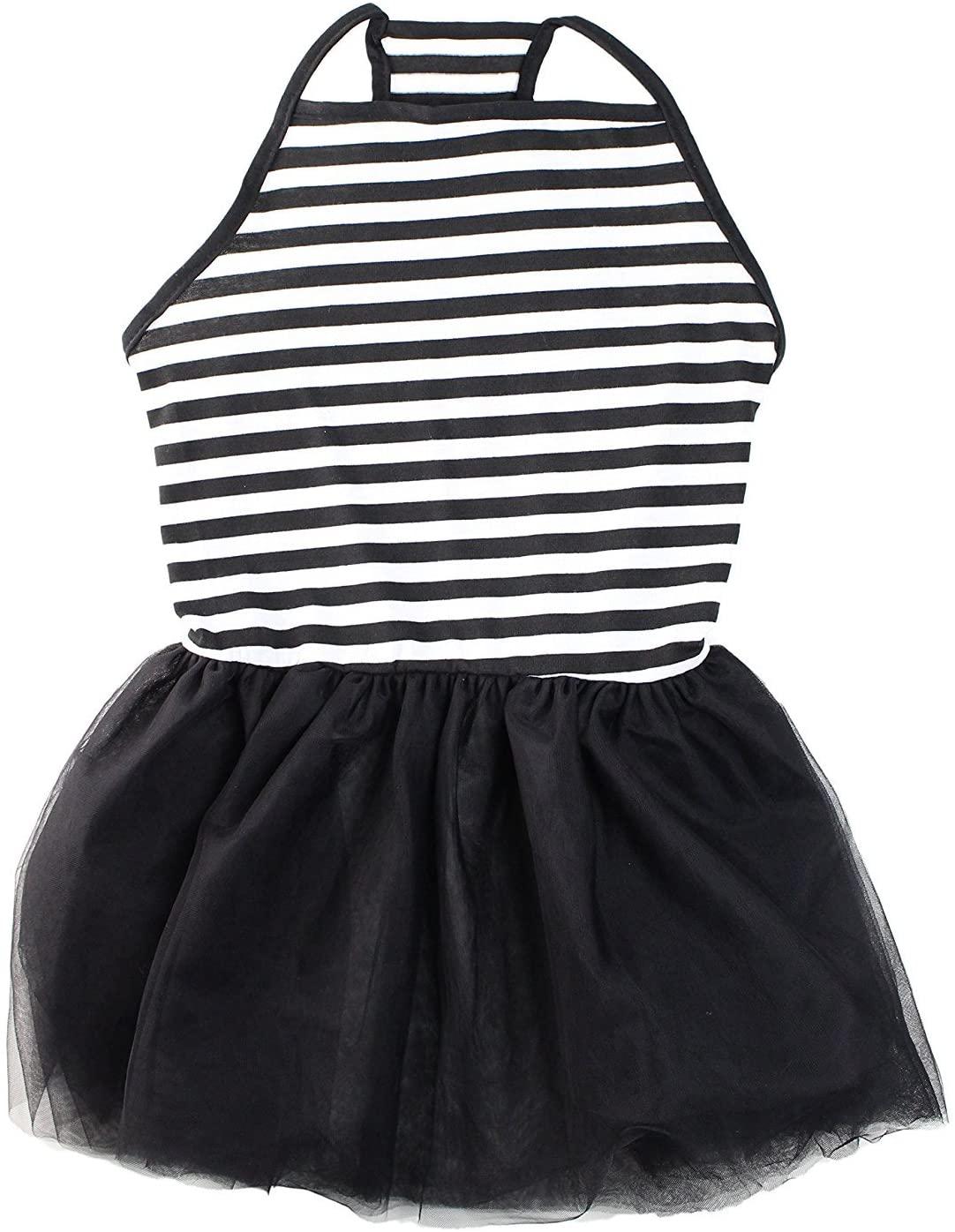 Midlee Elegant Black & White Stripe Tutu Large Dog Dress