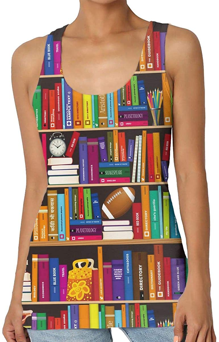 Womens Tank Top Book Shelf 3D Printed Sleeveless Racerback Vest Shirts