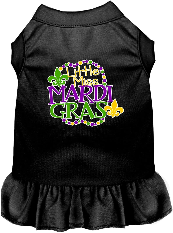 Mirage Pet Product Miss Mardi Gras Screen Print Mardi Gras Dog Dress Black Med