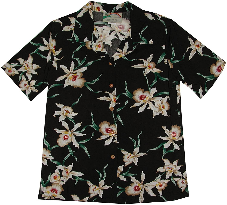 Paradise Found Women's Star Orchid Aloha Shirt, Black, L
