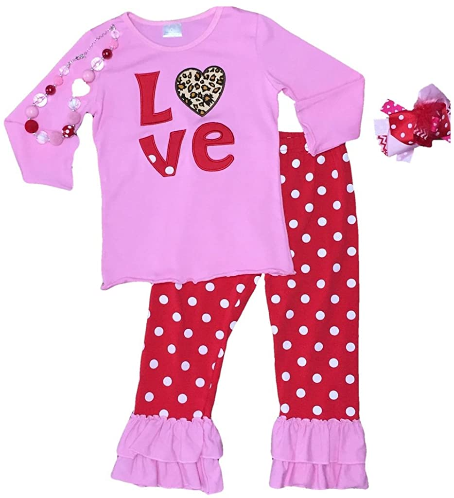 Cute Kids Clothing Girls Toddler Girl Valentine's Day Outfit Boutique Set W/Hair Bow Necklace