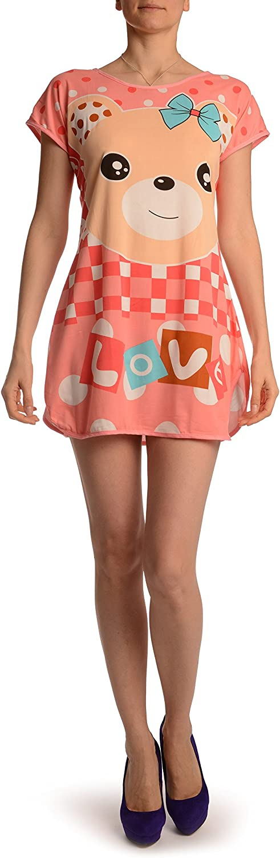 Smiling Love Bear On Salmon Pink Lightweight Dress - Dress