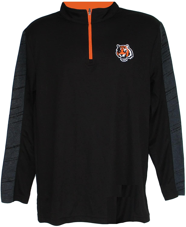 Cincinnati Bengals Adult Size Medium 1/4 Zip Pullover Shirt - Black