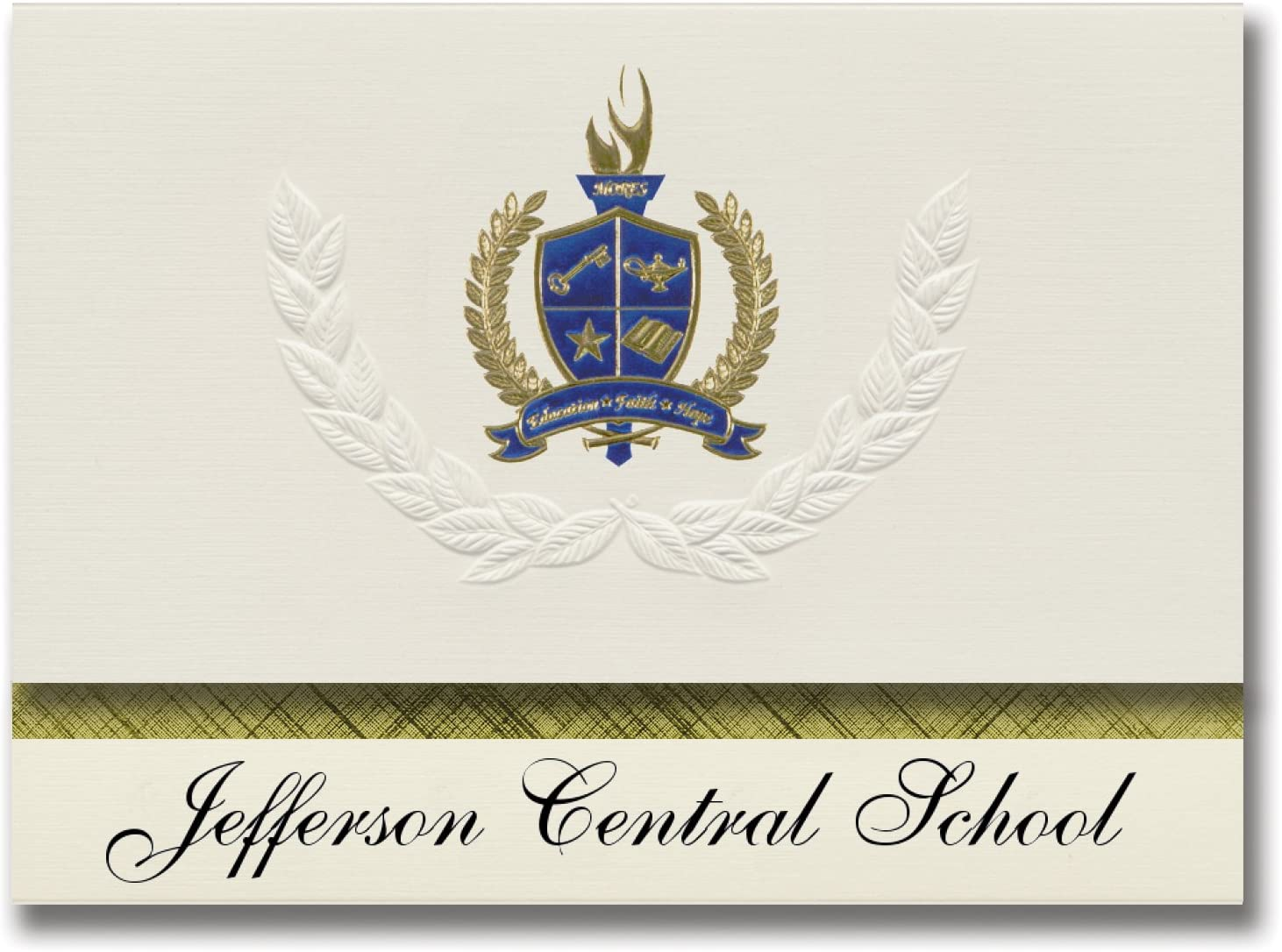 Signature Announcements Jefferson Central School (Jefferson, NY) Graduation Announcements, Presidential style, Basic package of 25 with Gold & Blue Metallic Foil seal
