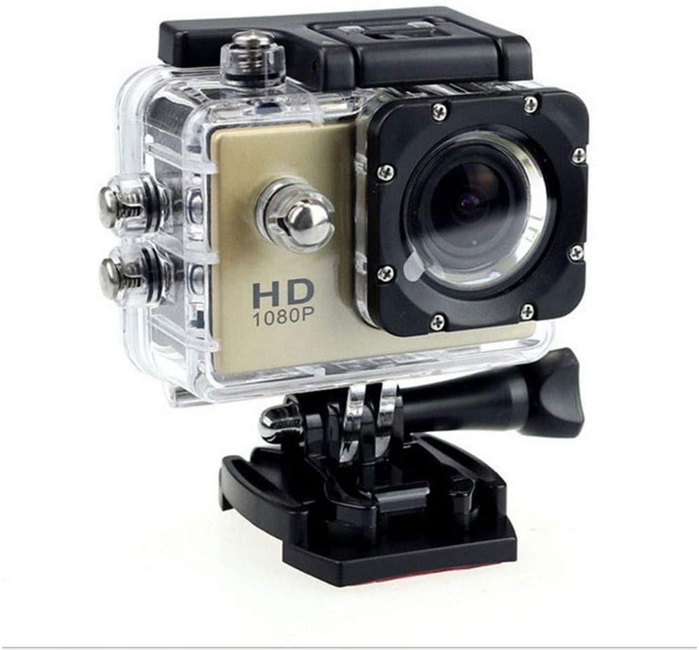 Golden Waterproof Camera, Outdoor DV Recorder, Hd 1080P Camera, 900mAh, Environment-Friendly ABS Material, Size: 59x41x24.5mm HD Imaging (Color : Gold)